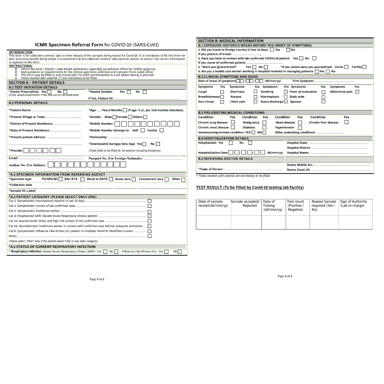 ICMR Spiceman Referral Form for COVID-19 (SARS-CoV2)